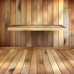 Empty interior with wood shelf. EPS 10