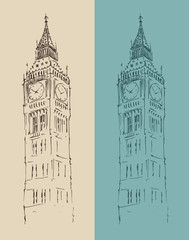 Big Ben London vintage illustration, engraved style