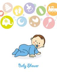 Baby shower. baby boy crawling