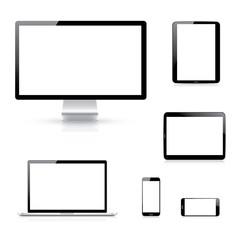 Modern electronic devices vector eps10 illustration isolation