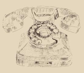 retro (old) telephone vintage illustration, engraved retro style
