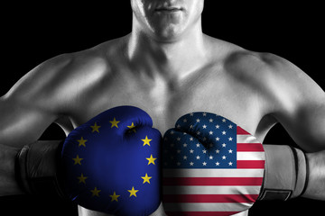 B&W fighter with EU and USA color gloves