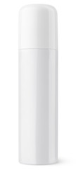 Closed aerosol spray bottle can on white with clipping path