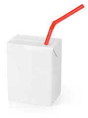 200 ml milk or juice carton package with red straw on white