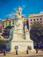 Retro look Columbus monument in Genoa