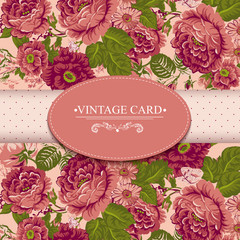 Elegance Vintage Floral Card with Roses