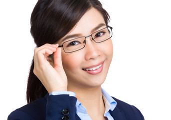 Business woman adjust glasses