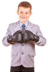 Handsome Little Boy with boxing gloves, Isolated