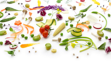 fresh herbs, vegetables and edible flowers collection