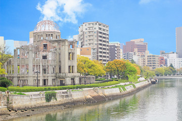 Atomic Dome and the river view at Hiroshima memorial peace park