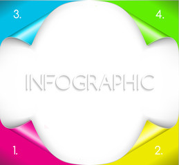 Infographic design with paper corner on the background.