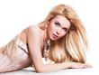 Beautiful sensual woman with long blonde hair.