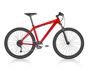 realistic mountain bike red vector