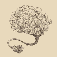 brain (concept ideas) vintage illustration, engraved style