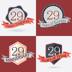 Set of Retro vector Stamps/Seal for 29th business anniversary .