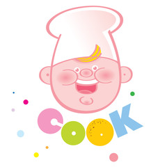 Cook - cartoon chef cook in white hubcap