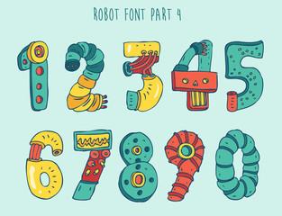 vektor cartoon colorful robot font (type) part 4