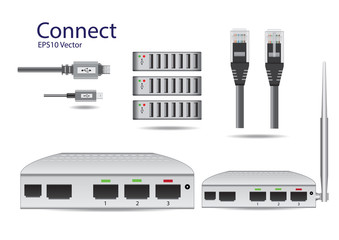 Connection Equipment On White background Isolate Vector Illustra