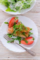 fish fried Arugula and strawberry
