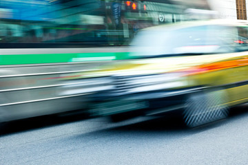 Taxi Speeding in motion tokyo, japan