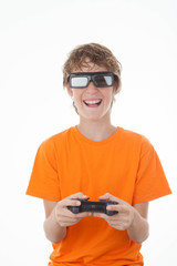 kid playing 3D game with control