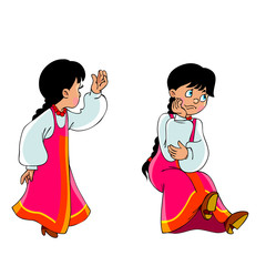 cartoon girl in Russian national dress