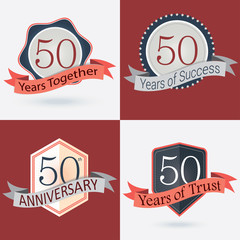 Set of Retro vector Stamps/Seal for 50th business anniversary .