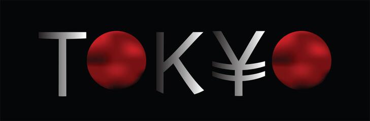 Tokyo word on black background