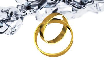 золотые кольца и вода