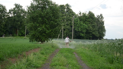 overgrown road and farmer man cut mow wet grass with trimmer