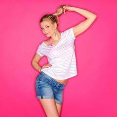 Posing girl on studio