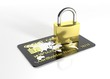 Black credit card with padlock isolated on white