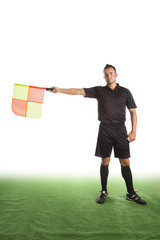 Schiedsrichter mit Fahne, freigestellt