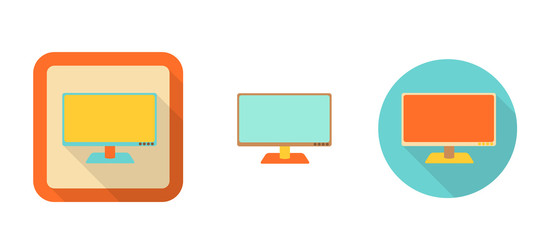 set of flat retro icons - monitor, tv, illustration