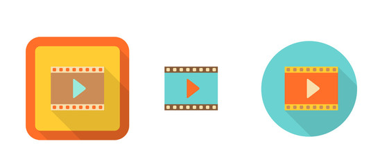 set of flat retro icons - video, illustration