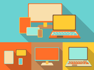 responsive devices, illustration in retro style