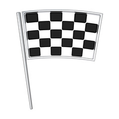 Checkered black and white racing finish flag, 3d