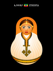 Matryoshka Ethiopia in habesha kemis dress