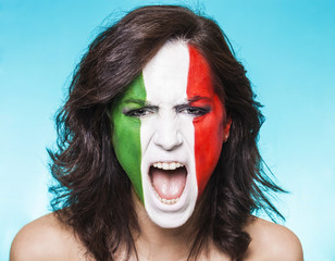 Italian supporter for FIFA 2014 screaming