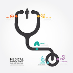 infographics vector medical design stethoscope diagram line