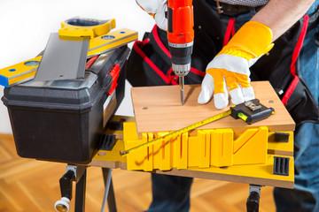 Male Worker laminate, parquet flooring