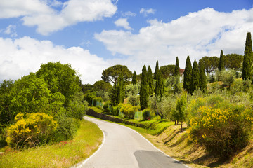 Italy. Tuscany. Rural landscape with a road