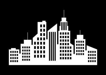 City icon on black background
