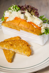 sandwiches salad fried bread