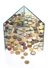 Mirrors multiply Euro coins, money. Financial concept, metaphor.