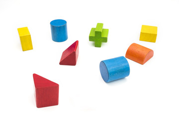 Various colored wooden for shape