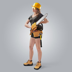 worker girl in a helmet with a chain saw