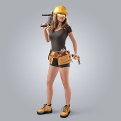 worker girl in a helmet with drill and hammer