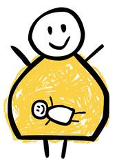 Glückliche werdende Mutter mit Baby im Bauch – Zeichnung