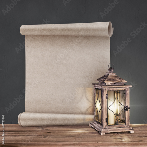 Poster vintage lantern with antique scroll on gray background